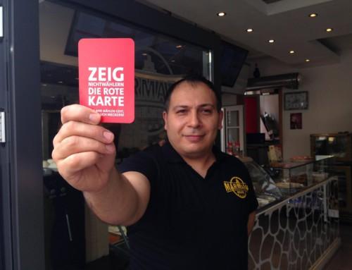 Wildeshauser Geschäfte zeigen Nichtwählern die Rote Karte!