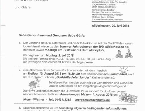 Einladung SPD Sommerfest und Radtouren